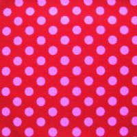 PET BED - STENZO PINK POLKA DOTS ON RED